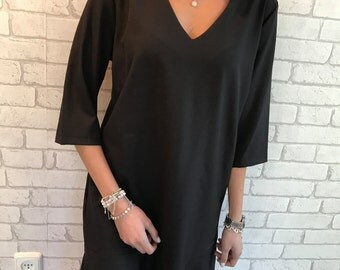 Black Dress, Shirt Dress,   Tunic Dress, V neck tunic dress, Casual day dress - Mlian -Size S,M, L