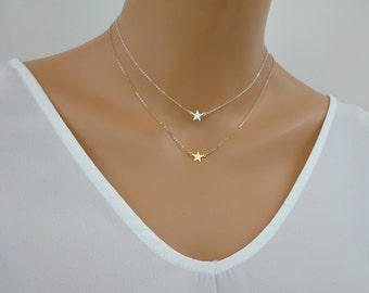 Gold star necklace, Dainty Gold fill star pendant, Sterling silver star necklace, Delicate star jewelry