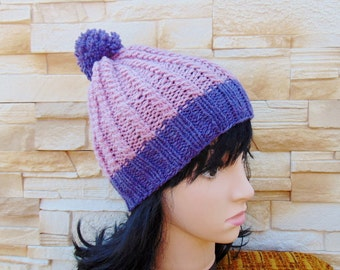 Violet Alpaca Pompom Hat Winter Beanie Lilac Chunky Cap Alpaca Wool Hat Quartz Pink Pom-pom Beanie Ski hat Girl Knit Winter Hat Teenager Cap