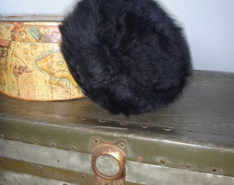Black Fur Pillbox Hat by Ann Marie/ 1940's-1950's Black Fur Pillbox Hat