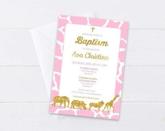 Pink Safari Baptism Invitation, Girls Christening Invite, Gold Foil Safari Animals, Pink & Gold Safari Theme, 4x6 or 5x7- Digital File