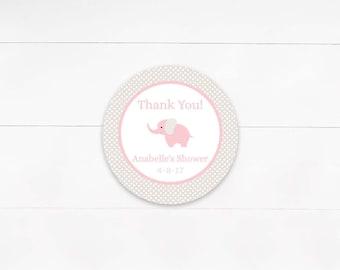 Pink & Gray Elephant Favor Tags, Baby Shower Favor Labels, Girls Birthday Favor Labels, Baptism Christening Labels- Printable, Digital File