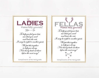 """The Hunt is Over Themed Wedding Bathroom Signs, Ladies Bathroom Sign, Mens Bathroom Sign, Wedding Sign Printable, 5""""x7""""- Instant Download"""