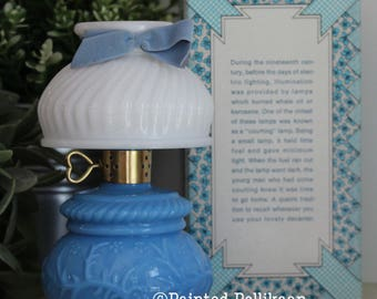 Avon Courting lamp, Elusive Cologne, Blue and Milk Glass Perfume Bottle, Vintage Avon