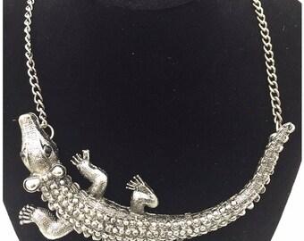 Alligator necklace, Large Alligator Necklace, Crocodile Necklace, Silver Crocodile Necklace (708)