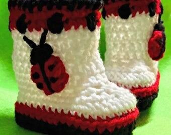 Ladybug Baby Booties-5 Infant Sizes