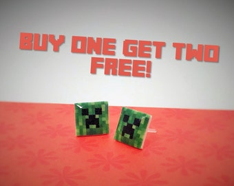 Minecraft Creeper Plastic Studs/ Buy One Get Two (SEE DESCRIPTION)/