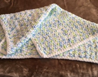 Baby Blanket. Blue and yellow accents, white boarder. Great for a little boy or girl
