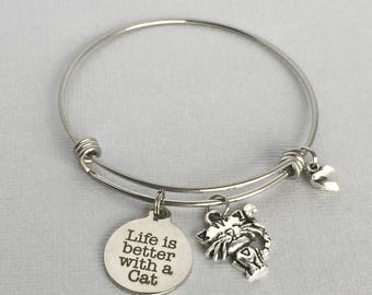 Life is Better with a Cat Bracelet, Cat Charm Bangle, Cat Charm Bracelet, Cat Lover Jewelry, Gift for Cat Lover, PET017