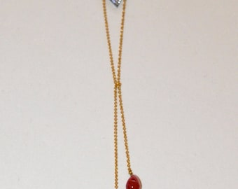 Long necklace 1940s extra fine gold plated, micro triangles zircons and Ruby and Chrysoprase drops