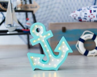 Anchor nightlight, desk lamp, made from Baltic birch plywood, battery operated (11/1/SB)