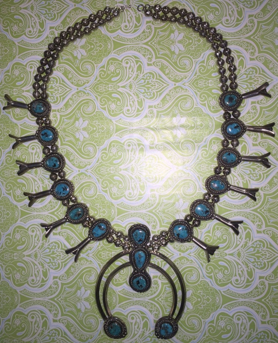 FREE SHIPPING-Vintage-Southwestern-Navajo-Squash Blossom-Native American-Silver-Turquoise