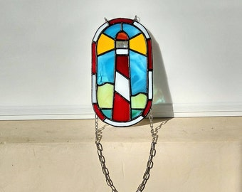 Stained glass suncatcher Red Lighthouse
