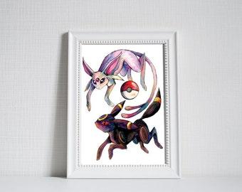A3 Pokemon Print - Umbreon and Espeon