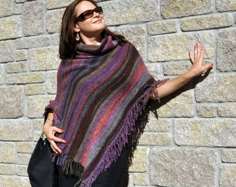 Women ponchos   Knit poncho - gift for women - poncho - hand knit poncho - wool poncho - gift for wife - boho poncho - fringe poncho