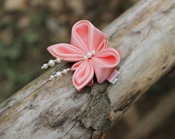 Kanzashi Coral butterfly hair clips Girls birthday gift Toddler gift Keepsake Salmon accessory Gift for kids Baby bows Newborn hair clips