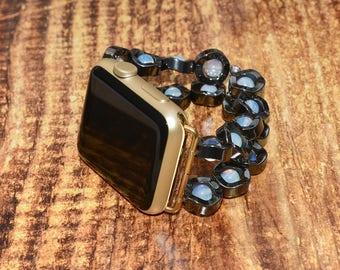 Apple watch band // hematite and opalite apple watch accessories 38mm / 42mm apple watch strap lugs adapter - iwatch band women