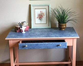 Upstyled Desk LOCAL PICK-UP . Coral - Blue - Beach - Mud Paint - Kalamazoo, Michigan - Refurbished Desk