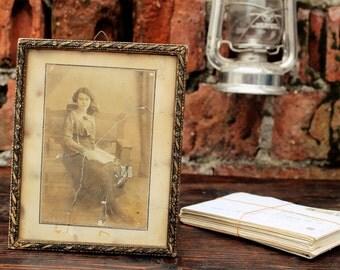 Antique Portrait - Sepia Portrait - Antique Frame - Plaster Frame - Distressed Frame - Portrait Photo - Antique Photo Frame - Young Lady