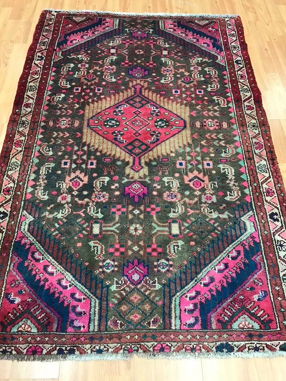 "3'5"" x 5'3"" Persian Turkeman Oriental Rug - 1950s - Hand Made - 100% Wool"