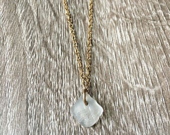 Lake Superior Clear Beach Glass Pendant on Gold Chain