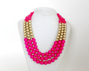 Fuchsia Necklace, Pink Necklace, Colorful Necklace, Metallic Necklace, Colorblock Bib Necklace, Multilayer Beaded Necklace, Gift for her