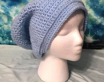 Blue Slouchy Beanie Crochet Hat Warm Wool Winter Knit Ear Protector