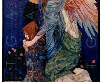 The GUARDIAN ANGEL. Striking Art Nouveau Angel Illustration. Vintage 1900's Digital Angel Download. Vintage Angel Print.