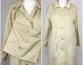 RARE | Vintage 70s Lacoste Rain Jacket & Bag Set | 1970s Beige Tan Rain Coat | Sand 80s Alligator | 1980s Collectible Sports Wear  |