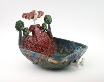Ceramic sculpture / Clay sculpture / Woman sculpture / Handmade clay art / Pottery sculpture / Ceramic bowl / Contemporary / Ceramic artwork