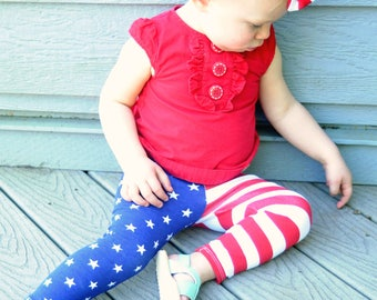 American Flag Leggings, Fourth of July Outfit, Baby Leggings, Patriotic, 4th of July, Stars and Stripes, Baby Gift, Newborn, Boy, Girl, Pant