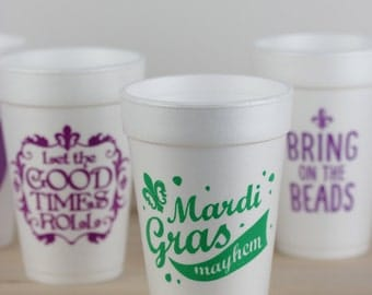 Mardi Gras Cup,  Mardi Gras Party, Mardi Gras Mayhem, Cute Mardi Gras Foam Cup, Mardi Gras Decorations, Fat Tuesday Foam Cup, Made in USA