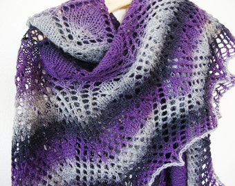 Lamb wool hand knitted lace shawl Warm and big wool shawl Violet dark violet and grey triangular Winter shawl Mother's Day gift for women