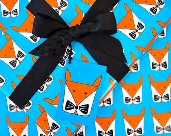 Fox Wrapping Paper Pack-Fox Gift Wrap Set-Fathers Day-Childrens Birthday Gift Wrap Pack-Cute Fox Gifts-Woodland Animal-Bow Tie-Sheets