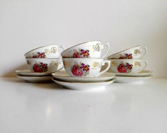 Shabby French, Coffee set, french vintage, set of 6, French porcelain, made in France, Set cups and saucers, tea cups, France, cups,