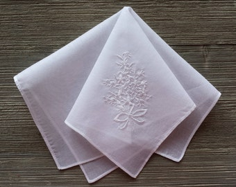 Vintage Hankerchief, Small White Hankie, Embroidered, Imperfect