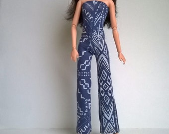 Barbie jumpsuit in blue with light blue pattern