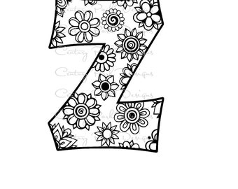 Letter Z Alphabet Flowers SVG / JPEG / PNG /pdf / use with Silhouette Studio and Cricut Design Space - Commercial Use - Adult Coloring Page