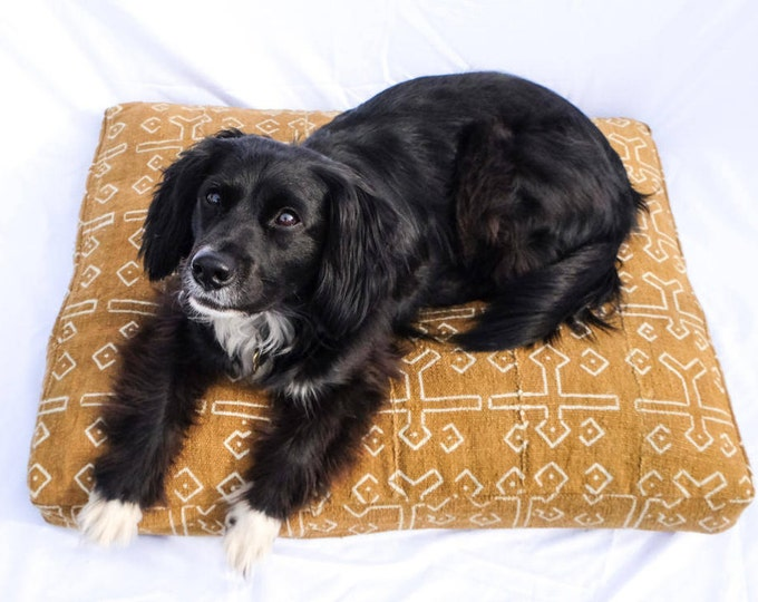 Mudcloth Dog Bed // golden yellow bohemian shibori pet bed pillow