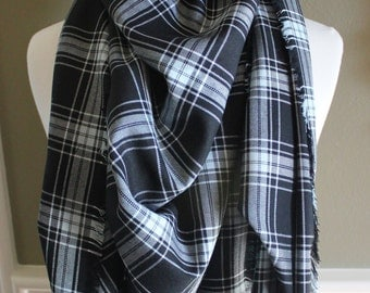 Black and Light Blue Plaid Lightweight Blanket Scarf