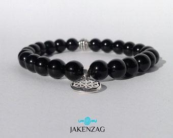 8mm Black Obsidian Bracelet, Silver Bracelet, Gemstone Bracelet, Obsidian Bracelet, Bead Bracelet Men, Mens Jewelry, Gifts for Him