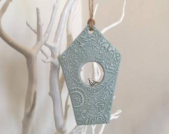 Green Birdhouse decoration - unique birdhouse, decorative birdhouse, rustic birdhouse, hanging ornament, door hanger, clay tags