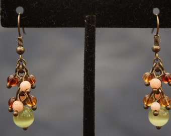 up-cycled brown and green cluster earrings