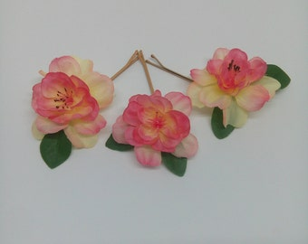 Peach and Pink Flower Pins