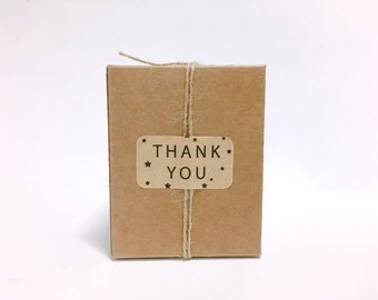 24 stars with thank you Kraft stickers,thank you labels,gift labels,favor packaging,gift packaging,cute stickers,kraft label,Kraft sticker