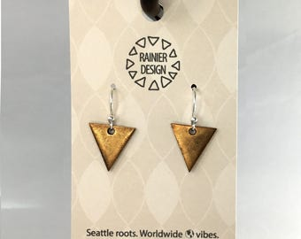 Rose Gold & Silver Geometric Triangle Drop Hook Earrings, Mixed Metal Dangles, Simple and Unique Handmade Jewelry From the Pacific Northwest