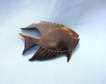 Carved Lightly Etched Lucite Angelfish Pin/Brooch
