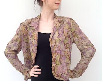 1930s lamé jacket floral Art Deco vintage antique