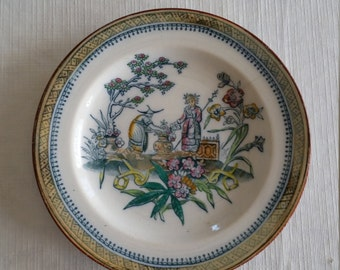 "antique 1800's chinoiserie polychrome 7"" plate - e.m. & co chang - oriental asian scene art pottery edge malkin earthenware transferware"