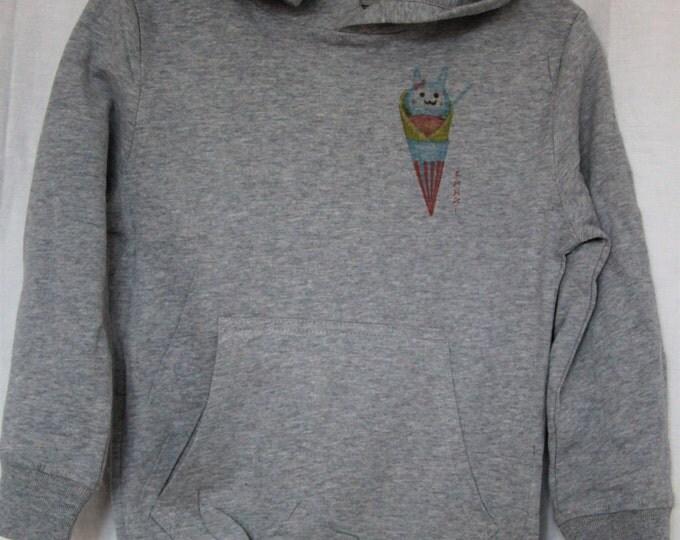 Gray hooded sweatshirt kids graphics. ice cream kawaii, manga;